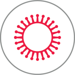 Small virus icon red